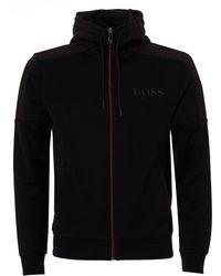BOSS Athleisure - Saggy Hoodie, Contrast Zip Black Jacket - Lyst