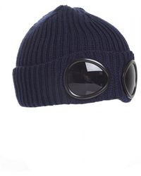 C P Company - Goggle Lens Beanie, Ribbed Total Eclipse Navy Blue Hat - Lyst