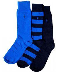 Ralph Lauren - Striped Royal Navy Cotton Socks - Lyst