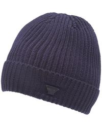 Armani - Navy Blue Chunky Wool Badge Beanie Hat - Lyst