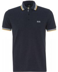 BOSS Paddy Polo, Regular Fit Navy Blue Melange Polo Shirt
