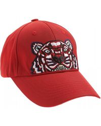 KENZO - Tiger Baseball Cap, Red Canvas Hat - Lyst