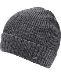 BOSS Green | C-fati2 Beanie, Ribbed Wool Charcoal Hat | Lyst