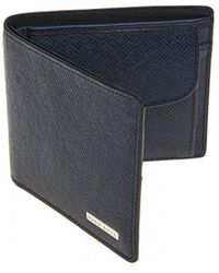 BOSS - Signature_4 Cc Coin Navy Blue Leather Wallet - Lyst