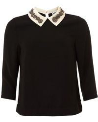 Essentiel Antwerp - Olma Rhinestone Collar Black Top - Lyst