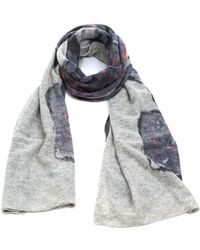 Fraas - Floral Grey Pink Knitted Woollen Scarf - Lyst