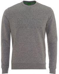 Lyst - Boss Salbo Sweatshirt, Crew Neck Grey Melange Jumper in Gray ... db757a7c70c5