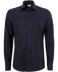 Stenstroms - Pin Dot Slimline Long Sleeve Navy Shirt - Lyst
