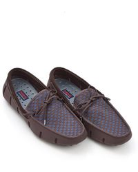 Swims - Lace Woven Brown Navy Loafer Shoes - Lyst