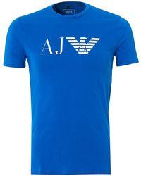 Armani Jeans - Bluette T-shirt, Regular Fit Large Eagle Logo Tee - Lyst