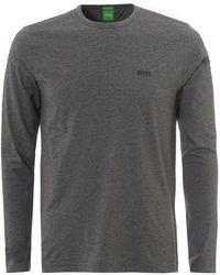 BOSS Athleisure - Togen T-shirt, Long Sleeved Logo Mid Melange Grey Tee - Lyst