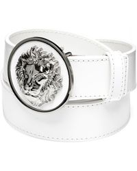 Versus - Silver Lions Head White Leather Belt - Lyst