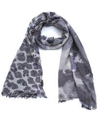 Fraas - Animal Print Grey Wool Mix Scarf - Lyst