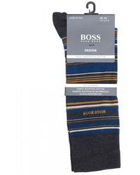 BOSS Charcoal Gray Striped Socks