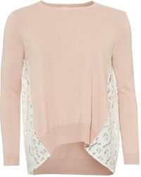 I Blues | Eccesso Knit, Lace Panels Powder Pink Jumper | Lyst