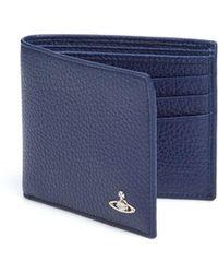 Vivienne Westwood - Grained Leather Billfold Blue Wallet - Lyst
