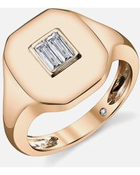 SHAY - Essential Pinky Ring In Rose Gold With Baguette Diamond - Lyst