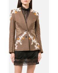 Jonathan Simkhai - Wool Applique Basque Jacket In Tobacco Plaid - Lyst