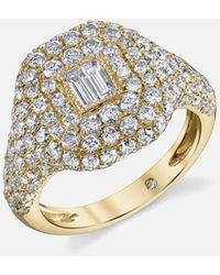 SHAY - Pave Essential Pinky Ring In Yellow Gold With Baguette Diamond - Lyst