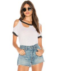 Chaser - Blocked Jersey Roll Sleeve Tee In Black & White - Lyst