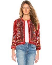 Velvet By Graham & Spencer - Velvet Embroidered Jacket In Red - Lyst