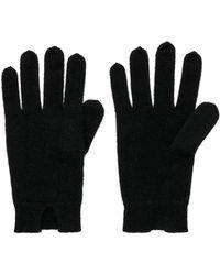 White + Warren - Notch Detail Gloves In Black. - Lyst