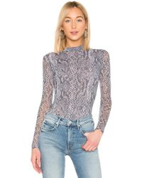 Only Hearts - Python Tulle Mock Neck Bodysuit - Lyst