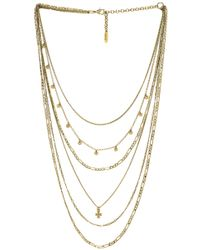 Luv Aj - The Hammered Cross Multi Charm Necklace In Metallic Gold. - Lyst