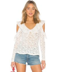 BCBGMAXAZRIA - Lace Ruffle Blouse In White - Lyst
