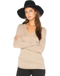Enza Costa - Rib Cuff V Neck Long Sleeve Tee - Lyst