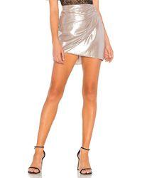 Michelle Mason - Gathered Mini Skirt In Metallic Silver - Lyst