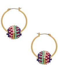 Rebecca Minkoff - Blair Beaded Ball Hoop Earrings - Lyst