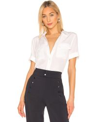 Equipment - Blusa camisa de botones top seda slim signature en color blanco - Lyst
