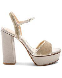 Lola Cruz - Ankle Strap Platform Heel In Grey - Lyst