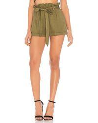 Chaser - Paperbag Waist Shorts In Sage - Lyst