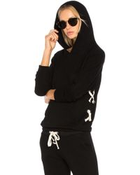 Monrow - Lace Up Pullover Hoodie - Lyst