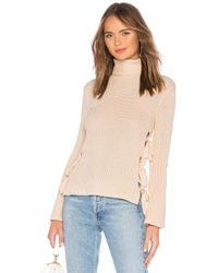 Lovers + Friends - Hally Lace Up Sweater In Pink - Lyst