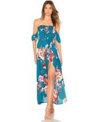 Band Of Gypsies - Large Floral Lace Up Midi In Teal - Lyst