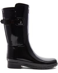 HUNTER - Original Refined Back Strap Short Gloss Boot In Black - Lyst