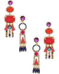 Elizabeth Cole - Ingrid Earrings In Red. - Lyst