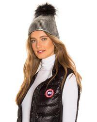 Jocelyn - Fox Fur Pom Beanie In Metallic Silver. - Lyst