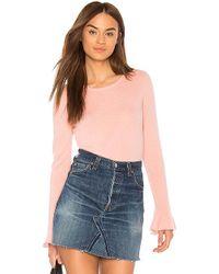 White + Warren - Fluted Cuff Sweater In Pink - Lyst
