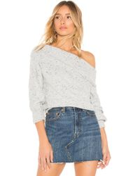Michael Stars - Off The Shoulder Puff Sleeve Pullover In Gray - Lyst