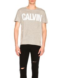 Calvin Klein - Flocked Calvin Tee In Gray - Lyst