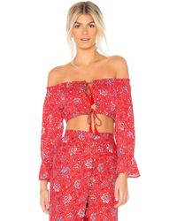 MINKPINK - Lucia Off Shoulder Top In Red - Lyst