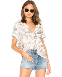 NSF - Tanis Short Sleeve Button Down In White - Lyst