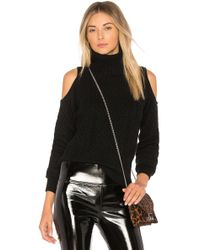 Theory - Cold Shoulder Cable Knit Sweater - Lyst