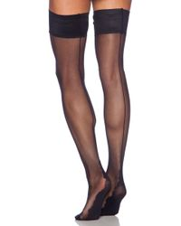 Pretty Polly - Backseam Thigh High In Black. - Lyst