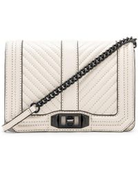 Rebecca Minkoff - Chevron Quilted Small Love Bag In White. - Lyst