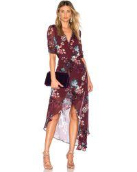 Nicholas - Burgundy Floral Wrap Dress In Burgundy - Lyst